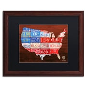 "Trademark Fine Art ''USA Flag Map'' by Design Turnpike 16"" x 20"" Black Matted Wood Frame (886511905511)"