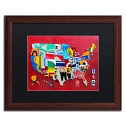 """Trademark Fine Art ''License Plate Map Miniature'' by Design Turnpike 16"""" x 20"""" Black Matted Wood Frame (886511906433)"""