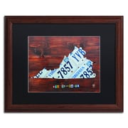 "Trademark Fine Art ''Virginia License Plate Map'' by Design Turnpike 16"" x 20"" Black Matted Wood Frame (886511912038)"