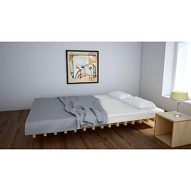 Quagga Designs – Lit plateforme « Funline », Nf160, 74 long. x 53 larg. x 8 haut. (po), bouleau naturel huilé