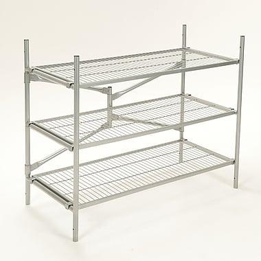 Cosco Folding/Stackable 3 Tier Storage Shelving, Metal, Silver