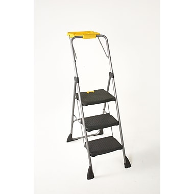 Cosco 3 Step Step Stool with Utility Tray, Black/Yellow