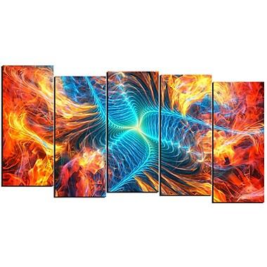 DEsignart – Tableau sur toile moderne, 5 panneaux à motif de feu électrique