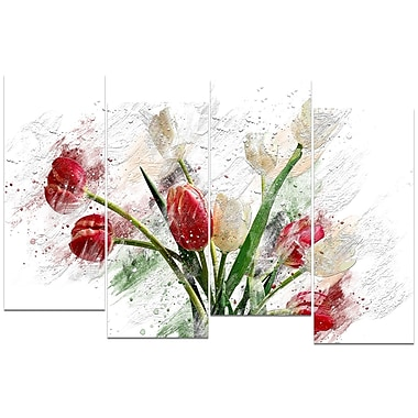Design Art Red and White Roses Canvas Art Print