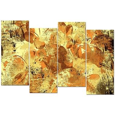Designart – Imprimé sur toile, Pétales de fleurs, orange et jaune, 4 panneaux, (PT3406-2-271)