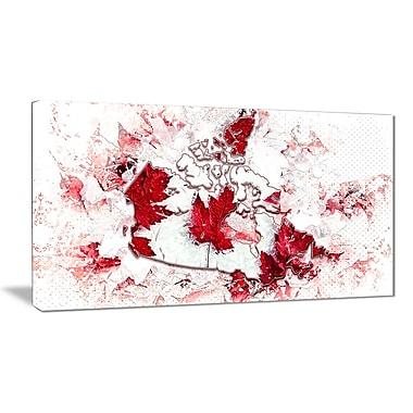Designart O Canada Map Canvas Art Print, (PT2745-32-16)
