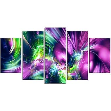 Designart Green and Purple Shine Contemporary Canvas Art, (PT3061-373)