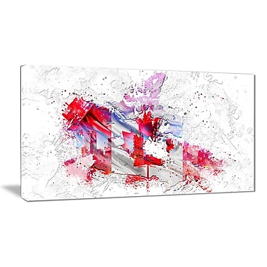 Designart Canadian City and Flag on the Map Canvas Art Print, (PT2746-32-16)