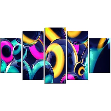 Designart Spherical Insight 5-Panel Abstract Canvas Art Print, (PT3094-373)