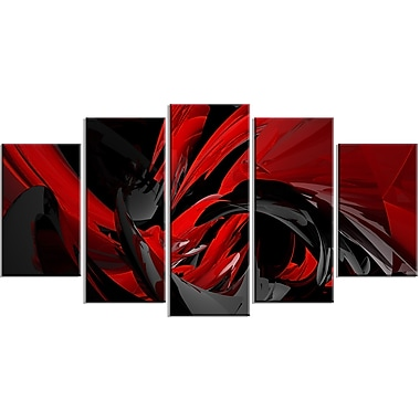 Designart – Tableau sur toile contemporain, Mélange rouge et gris, (PT3049-373)