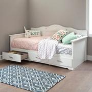 South Shore – Banquette-lit Tiara pour lit jumeau avec tiroirs (39 po), blanc pur, 42,25 larg. x 79 prof. x 39,5 haut. (po)
