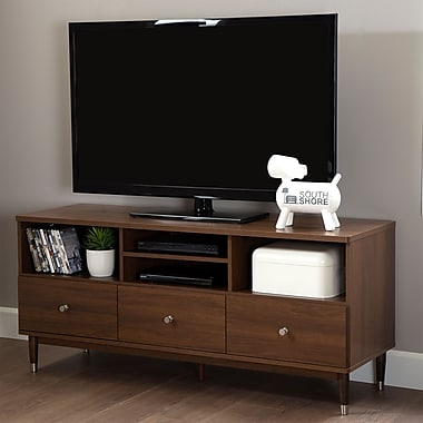 South Shore Olly TV Stand with Drawers for TVs up to 60'', Brown Walnut , 19'' (L) x 57.5'' (D) x 25.75'' (H)