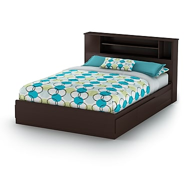 South Shore Vito Queen Mates Bed with Drawers and Bookcase Headboard (60'') Set, Chocolate