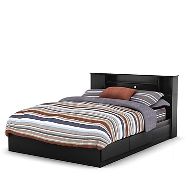 South Shore Vito Queen Mates Bed with Drawers and Bookcase Headboard (60'') Set, Pure Black
