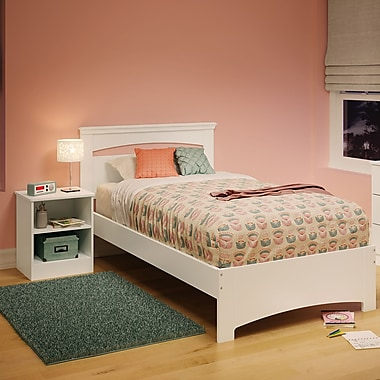 South Shore Libra Twin Bed Set (39'') with Nightstand, Pure White , 79'' (L) x 44'' (D) x 36.25'' (H)