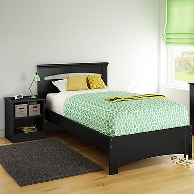 South Shore Libra Twin Bed Set (39'') with Nightstand, Pure Black , 79'' (L) x 44'' (D) x 36.25'' (H)
