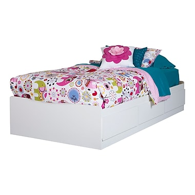 South Shore Logik Twin Mates Bed (39'') with 3 Drawers, Pure White , 76.25'' (L) x 40.25'' (D) x 14.5'' (H)