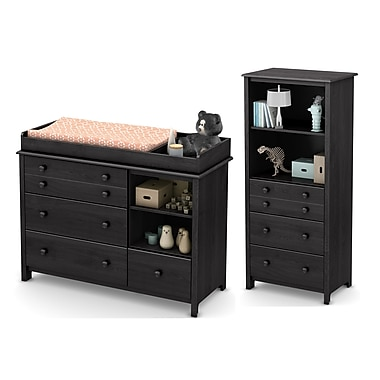South Shore Little Smileys Changing Table and Shelving Unit with Drawers, Grey Oak