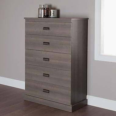 South Shore – Commode à 5 tiroirs Gloria, érable gris, 34 larg. x 17 prof. x 51 haut. (po)