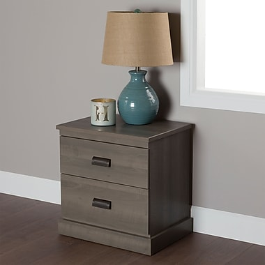 South Shore Gloria 2-Drawer Nightstand, Grey Maple , 22'' (L) x 17'' (D) x 23.3'' (H)