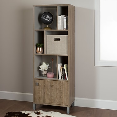 South Shore Expoz 6-Cube Shelving Unit with Door, Weathered Oak and Soft Grey , 23.4'' (L) x 14.5'' (D) x 65.25'' (H)