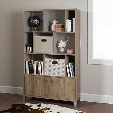South Shore Expoz 9-Cube Shelving Unit with Doors, Weathered Oak and Soft Grey , 38.5'' (L) x 14.5'' (D) x 65.25'' (H)