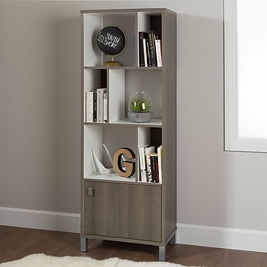 South Shore Expoz 6-Cube Shelving Unit with Door, Grey Maple and Pure White , 23.4'' (L) x 14.5'' (D) x 65.25'' (H)