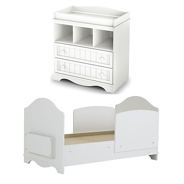 South Shore Savannah Toddler Bed and Changing Table Set, Pure White , 35'' (L) x 55'' (D) x 37'' (H)