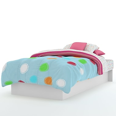 South Shore Libra Twin Platform Bed (39''), Pure White , 74.75'' (L) x 40'' (D) x 8.25'' (H)