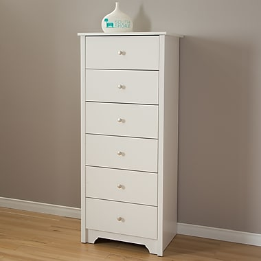 South Shore Vito 6-Drawer Chest, Pure White , 17'' (L) x 23.5'' (D) x 54.25'' (H)