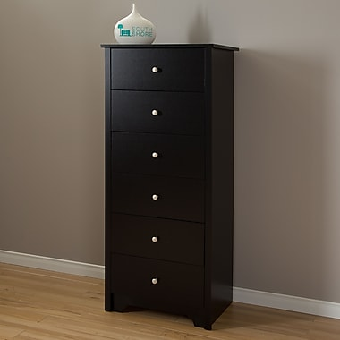 South Shore Vito 6-Drawer Chest, Pure Black , 17'' (L) x 23.5'' (D) x 54.25'' (H)