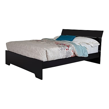 """South Shore Vito Queen Platform Bed with Headboard (60""""), Pure Black"""
