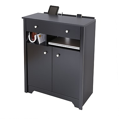 South Shore Vito Charging station cabinet, Pure Black , 29.5'' (L) x 15.25'' (D) x 36.25'' (H)