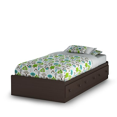 South Shore Summer Breeze Twin Mates Bed (39'') with 3 Drawers, Chocolate , 76'' (L) x 41'' (D) x 16'' (H)