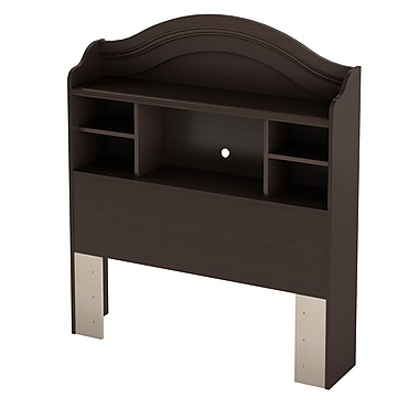 South Shore Summer Breeze Twin Bookcase Headboard (39''), Chocolate , 41'' (L) x 10'' (D) x 48'' (H)
