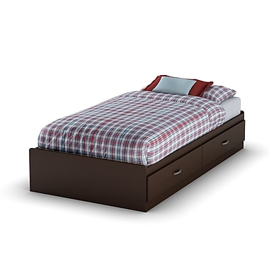 South Shore Logik Twin Mates Bed (39'') with 2 Drawers, Chocolate , 76.25'' (L) x 40.25'' (D) x 13.75'' (H)