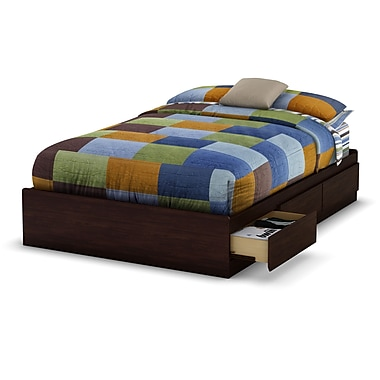 South Shore Willow Full Mates Bed (54'') with 3 Drawers, Havana , 76.25'' (L) x 56'' (D) x 14'' (H)