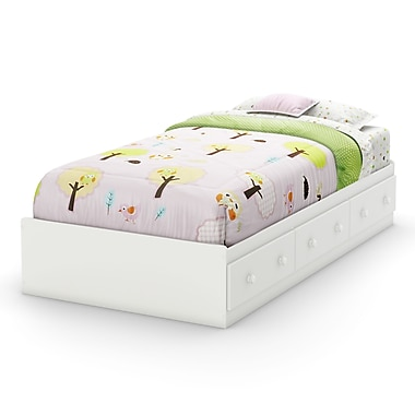 South Shore Savannah Twin Mates Bed (39'') with 3 Drawers, Pure White , 76.25'' (L) x 40.25'' (D) x 14.5'' (H)