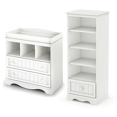 South Shore Savannah Changing Table and Shelving Unit with Drawer, Pure White , 35'' (L) x 20'' (D) x 53.5'' (H)