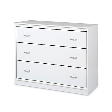 South Shore – Commode à 3 tiroirs Mobby, blanc pur, 39,5 larg. x 17 prof. x 31,5 haut. (po)