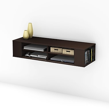 South Shore City Life Wall mounted media console, Chocolate , 48'' (L) x 16.25'' (D) x 10.25'' (H)