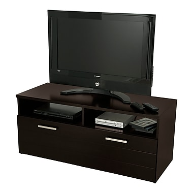 South Shore Jambory TV Stand with Storage Bins on Casters, for TVs up to 48 inches, Chocolate
