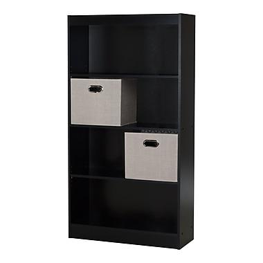 South Shore – Bibliothèque à 4 tablettes Axess, avec 2 paniers en tissu, noir pur, 30,75 larg. x 11,5 prof. x 58 haut. (po)