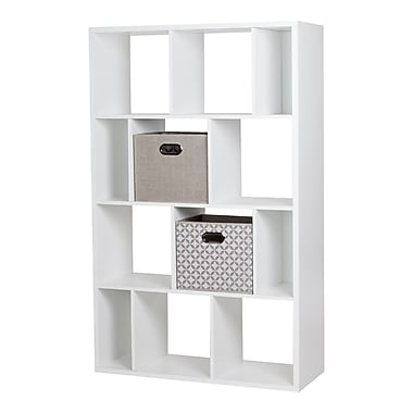South Shore Reveal Pure White 12-Cube Shelving Unit with 2 Fabric Storage Baskets , 38.75'' (L) x 14.5'' (D) x 61.5'' (H)