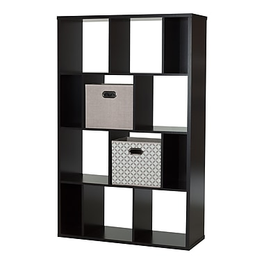 South Shore Reveal Chocolate 12-Cube Shelving Unit with 2 Fabric Storage Baskets , 38.75'' (L) x 14.5'' (D) x 61.5'' (H)