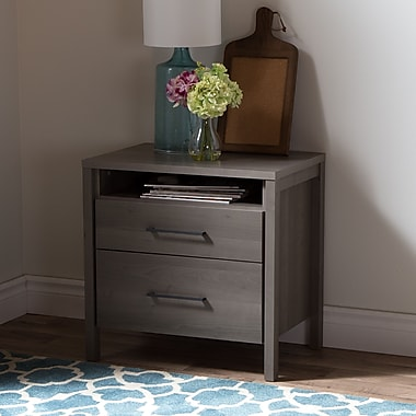 South Shore Gravity 2-Drawer Nightstand, Grey Maple , 23.5'' (L) x 16.5'' (D) x 23.5'' (H)