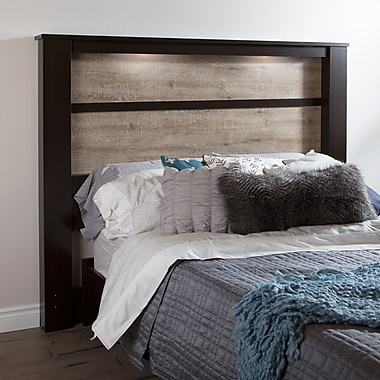 South Shore Gloria King Headboard (78'') with Lights, Chocolate and Weathered Oak