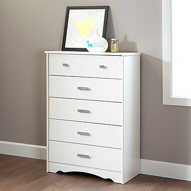 South Shore Tiara 5-Drawer Chest, Pure White , 16.5'' (L) x 31.5'' (D) x 45.5'' (H)