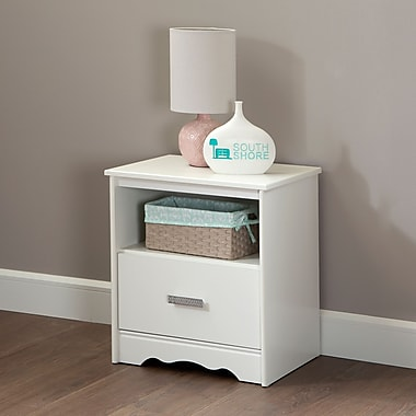 South Shore Tiara 1-Drawer Nightstand, Pure White , 16.5'' (L) x 21.25'' (D) x 23.25'' (H)