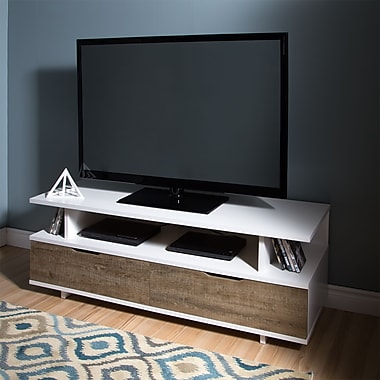 South Shore Reflekt TV Stand with Drawers, for TVs up to 60 inches, Weathered Oak and Pure White